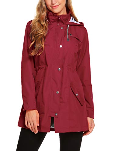 ZHENWEI Womens Lightweight Hooded Waterproof Active Outdoor Rain Jacket Wine Red XS