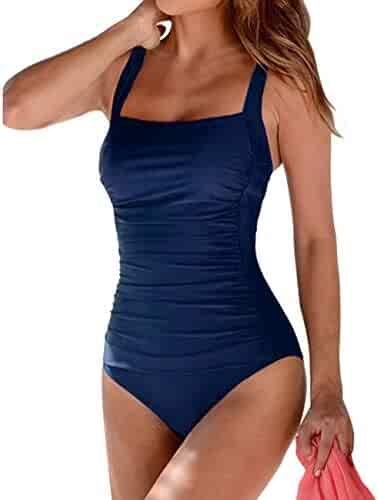 40090c394652b Hilor Women's One Piece Swimsuits Shirred Tank Swimwear Vintage Tummy  Control Bathing Suits