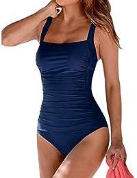hilor Mujer Front Crossover Side Ruched Ruffle Hem una pieza Swimdress traje de baño