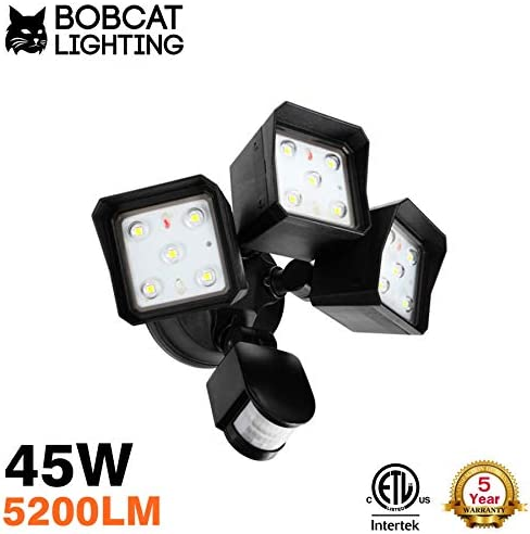 Bobcat LED Flood Lights 45 Watts 180 Degree Infrared Motion Sensor Three Head Light Direction Up Down Activated Outdoor Security Lights Energy Saving 5200 lumens 50K Black, 45W