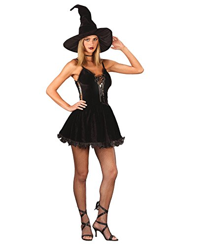 Summitfashions Sexy Classic Black Witch Costume Mini Dress Witch Hat Halloween Sizes: One Size
