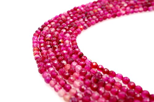 BRCbeads Gorgeous Faceted Fuchsia Agate Gemstone Round Loose Beads 3mm Approxi 15 inch 130pcs 1 Strand per Bag for Jewelry Making ()
