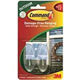 Command Strips 17091CLR-AW Medium Clear Outdoor Window Hooks 2 Count
