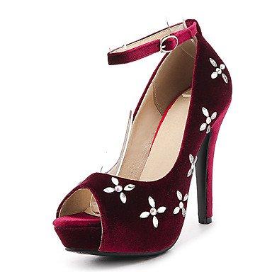 LvYuan Tacón Stiletto-Innovador Zapatos del club-Sandalias-Vestido Informal Fiesta y Noche-Vellón-Negro Rojo Green