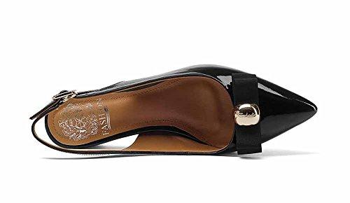 Donna pelle fibbia arco con a Casual Black 2018 punta sandali in punta con Nuovi Slingback ad rrUqT