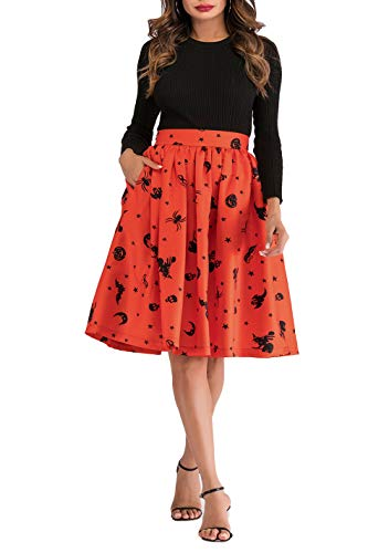 Hanlolo Women's Halloween Costumes High Waisted Skirts Pleated Flared Cocktial A Line Skirt Dress Orange