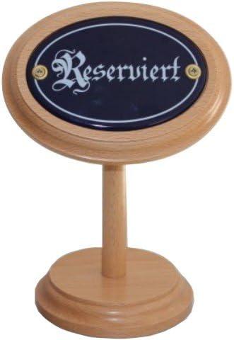 Reserviert Schild Tisch Aufsteller aus Holz mit Emaille Emailschild, Tischaufsteller Höhe ca. 20 cm.