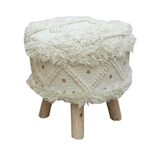 Christopher Knight Home Mosiac Wool Boho Stool, Ivory, Natural Finish