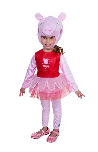 [Toddler Girls Peppa Pig Ballerina Costume with Headpiece & Leggings (2T)] (Ballerina Costumes For Toddler)
