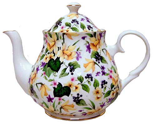 Daffodil Chintz 6 cup Teapot - Fine English Bone China