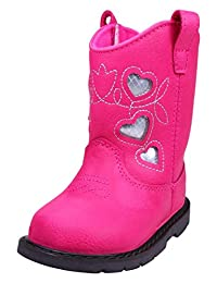 Fuchsia Silver Heart Infant and Toddler Girls Cowboy Western Boots by Baby Deer