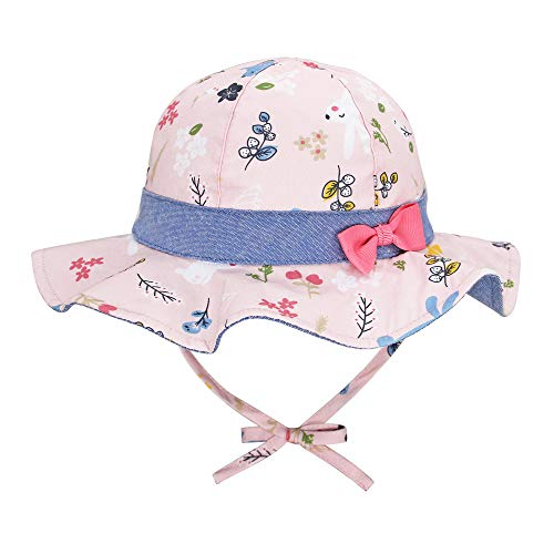 Baby Children Girls Pink Summer Bucket Sun Hat with Bow and Chin Strap Age 6-12M 1-2Y 2-4Y