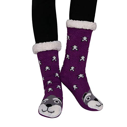 (Marlong Womens Warm Soft Cute Cartoon Animals fuzzy Cozy Non-Slip Winter Indoor Slipper Socks (03)