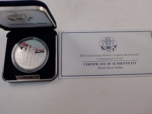 - 2002 West Point Military Academy Bicentennial Commemorative Proof Silver Dollar $1 Mint State US Mint