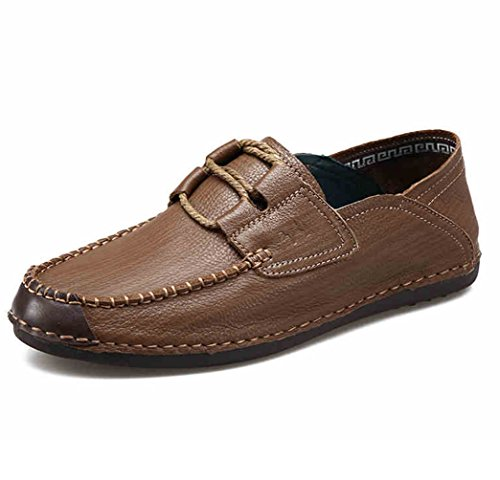 Mens Casual Leather Walking Boat Shoe - Slip-Resistant and Breathable - Perfect for Working and Outdoor Activities Khaki
