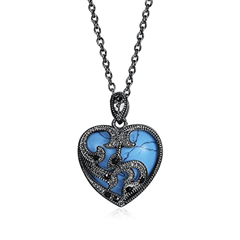 Art Kim Turquoise Pendant Heart Love Gemstone Platinum Plated and Black Gun Plated Necklace Pendant - Large Opal Globe Pendant