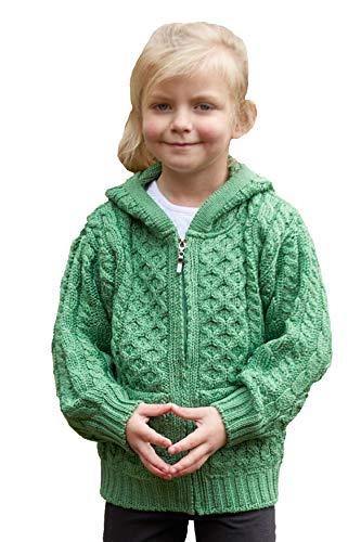 Kids Hooded Merino Wool Zip Aran Cardigan hd4039 Made in Ireland by Aran Crafts