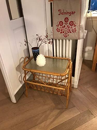 Mid Century Newspaper Holder/Magazine Rack/Coffee Table Rattan or Bamboo Glass Bought in Denmark 60s ()