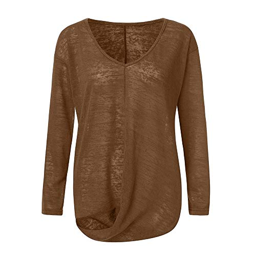- Lovygaga Women Popular Solid Color Cross Ruched Pullover Blouse Casual Brief V-Neck Long Sleeve Baggy Tops Shirt Gold