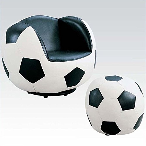 (Rosebery Kids Soccer Swivel Kids Chair with Ottoman in Black and White)