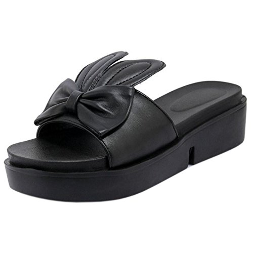 Taoffen Mujeres Lindo Slip On Mules Zapatillas Zapatos Negro