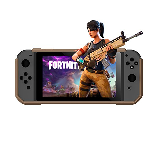 (Nintendo Switch Tan Protection Case Heavy Duty Cover (2 Card Storage) Easy Snap-on Ergonomic Design (Free Lanyard Included)Military Fans TAN Rubberized Flex TPU Transparent Hard PC GameCage FortNite)