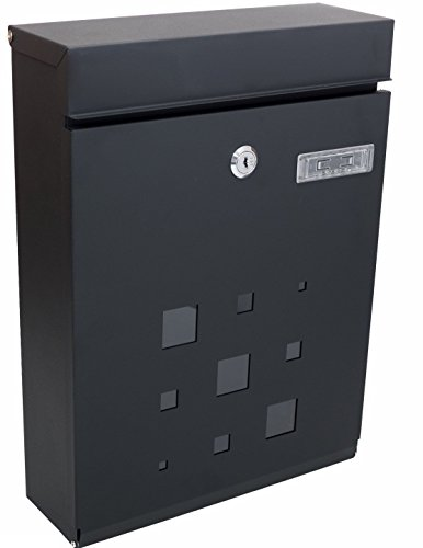 PEELCO Modern Rust Proof Powder Coated Galvanized Steel Black Vertical Lockable Mailbox, Black