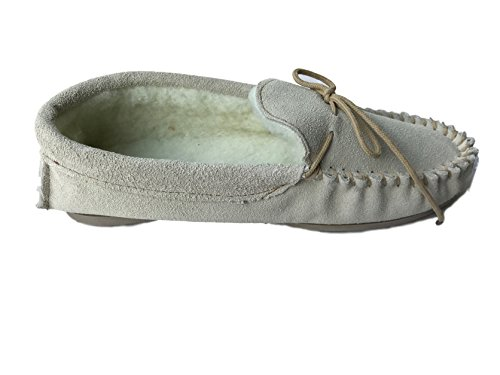 KURU - Zapatillas de estar por casa de Ante para mujer beige Beige/Grey Fur 39