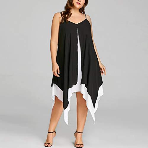 7cc609ba9cd Dress for Women Plus Size Women Chiffon V-Neck Solid Insert Layered High  Low Sleeveless
