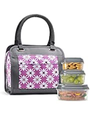 Fit & Fresh Ashland Lunch Bag Kit with Reusable Container Set and Ice Pack, Orchid Dogwood - 961FF476