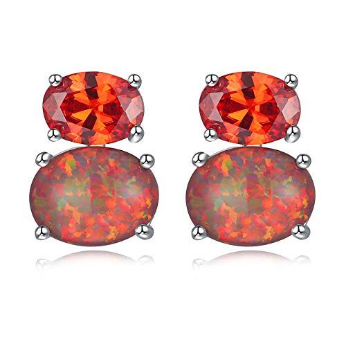 CiNily Orange Fire Opal Orange Garnet Stud Earrings for Women Sterling Silver Plated Birthstone Earrings Gemsone Stud Earrings