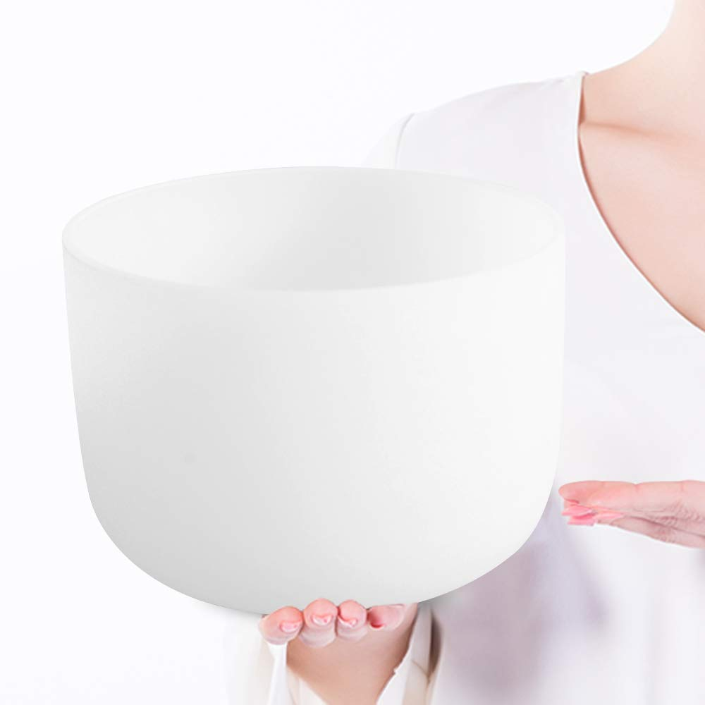 432Hz Perfect Pitch F Note Heart Chakra Frosted Quartz Crystal Singing Bowl 10 inch mallet and o-ring included