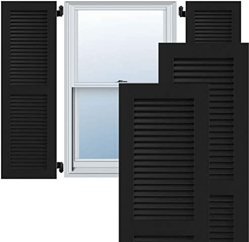 18W x 38H Ekena Millwork CWL18X038BLC Exterior Composite Wood Louvered Shutters with Installation Brackets Per Pair Black