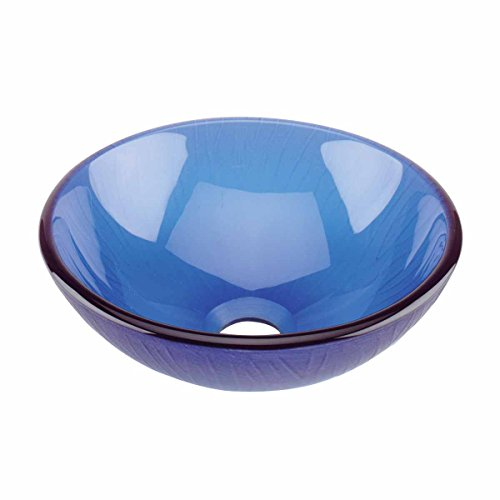 Frosted Blue Tempered Glass Mini Vessel Bowl Sink Durable St