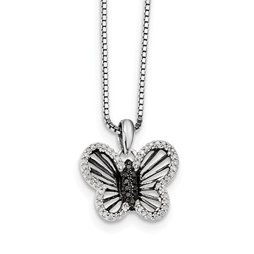 Butterfly Diamond Pendant And Chain - ICE CARATS 925 Sterling Silver Black White Diamond Butterfly Pendant Chain Necklace Charm Fine Jewelry Ideal Gifts For Women Gift Set From Heart
