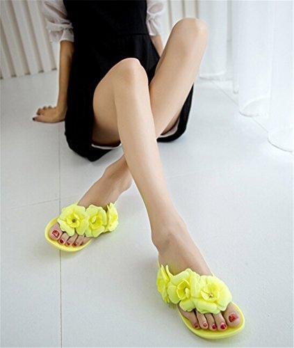 Fortuning's JDS de las mujeres flores 3D Camelias del chanclas zapatillas planas amarillo