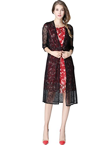 Olisi Women's Superelastic lace Cardigan Transparent Lightweight Long Sleeve Open Front Long Office Maxi Cardigan (L) by Olisi
