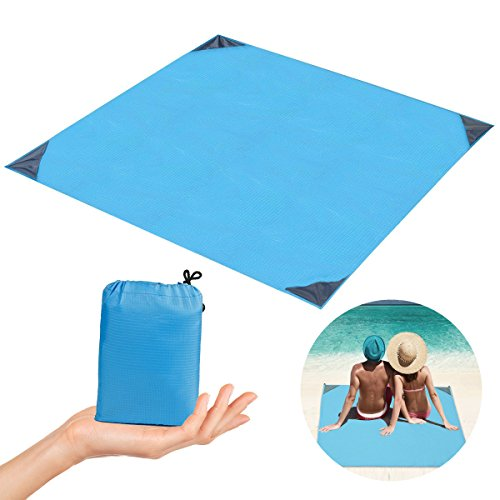 (Outdoor Pocket Picnic Beach Blanket Nylon Collapsible Waterproof and Sandproof Puncture Resistant and Tear Proof Mat for Camping,Picnic,Travel,Hiking and Festivals(Blue,140x152 cm/55''x60''))