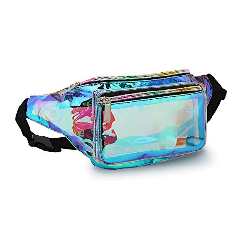 (Holographic Fanny Pack for Women - Waist Fanny Pack with Adjustable Belt for Rave, Festival, Travel, Party (Clear Blue))