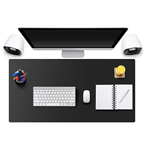 """MONYES Thick Desk Pad Protector, PU Leather Desk Mat Blotters, Black Laptop Mat for Office/Home (24"""" x 14"""")"""