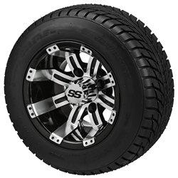 10 gloss black machined aluminum golf cart wheel lsi elite low profile tire. Black Bedroom Furniture Sets. Home Design Ideas