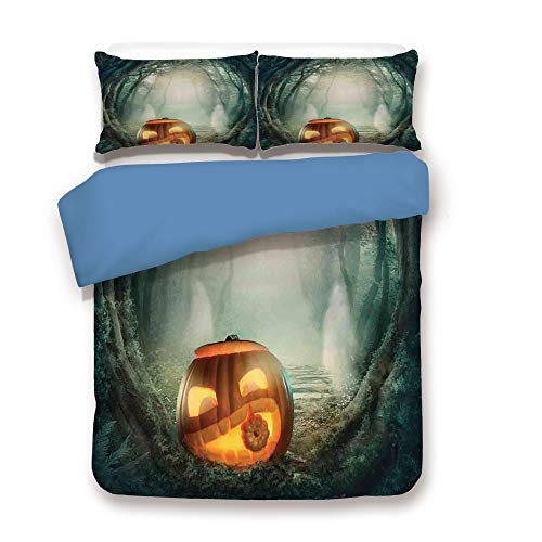 iPrint Duvet Cover Set,Blue Back,Halloween Decorations,Scary Halloween Pumpkin Enchanted Forest Mystic Twilight Party Art,Orange Teal,Decorative 3 Pcs Bedding Set by 2 Pillow Shams,Twin Size