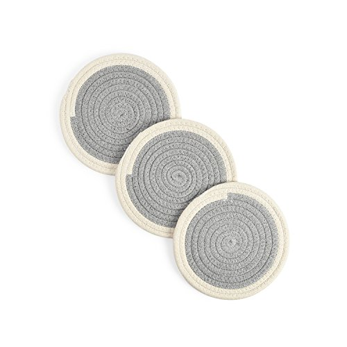 (Potholders Set Trivets Kitchen Pot Holders Pure Cotton Thread Weave Hot Pads Set of 3 Spoon Rest Jar Opener Cotton Coasters Hot Mats For Cooking and Baking by Diameter 7)