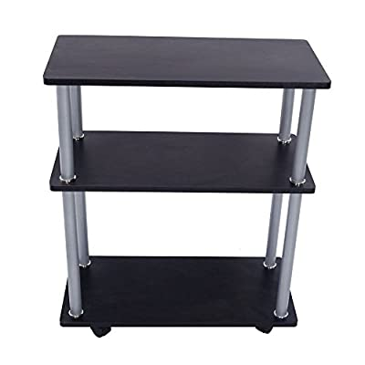 New Black 3 Tiers Laptop Fax Printer Cart Computer Stand Portable Office Table Rolling