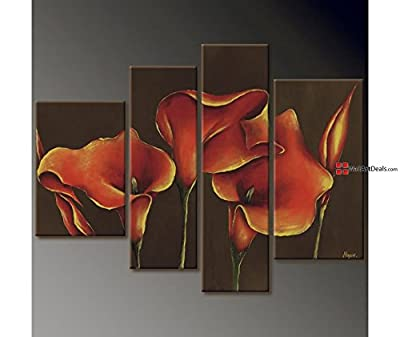 Modern Framed Red and Yellow Flowers 28 Wall Art Oil Painting 4 Piece