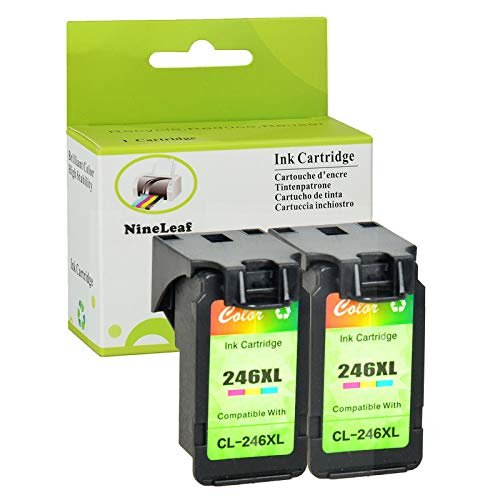 Nineleaf Remanufactured CL 246 XL CL-246XL 246 XL Color High Yield Ink Cartridges Special for PIXMA MX492 MG2920 MG2520 IP2820 MG2420 MG2922 MG2924 Printers Show Accurate Ink Level 2 Pack Tri-Color ()