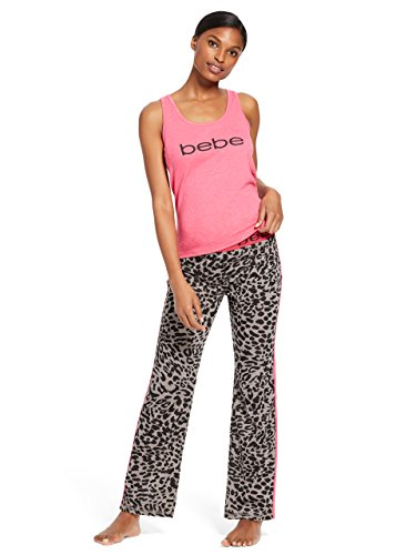 bebe Womens Sleeveless Scoop Neck Top Pants Pajama Set Bright Rose Heather Large
