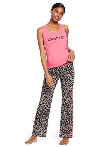(bebe Womens Sleeveless Scoop Neck Top Pants Pajama Set Bright Rose Heather Medium )