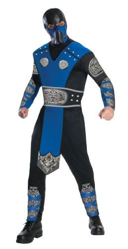 Mortal Kombat Adult Sub-Zero Costume And Mask, Blue/Black, X-Large