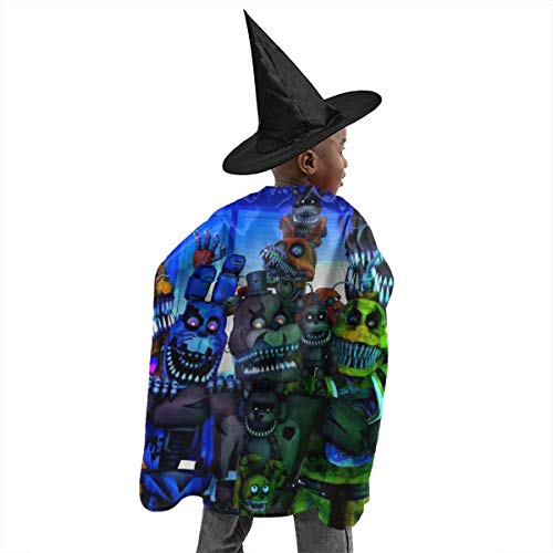 RGHDFFD72JFD9 FNAF Freddy Unisex Child 3D Printed Halloween Witch Set Cloak Cape Party Cosplay Fancy Dress Costume with Wizard Cap Hat ()